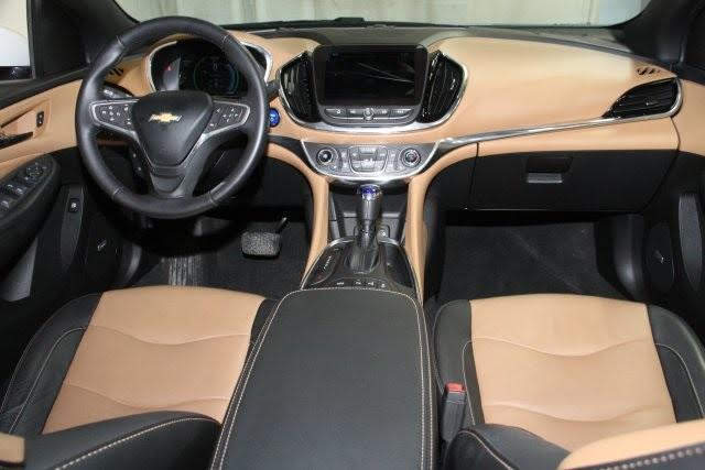 What to drive in retirement -- 2017 Chevy Volt Premier two-tone black and tan leather interior. This design feature is a plus for us.