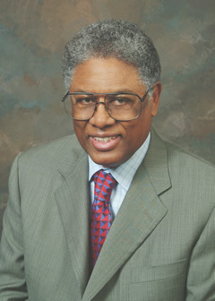 "Photo of Thomas Sowell of the Hoover Institute. Crediting one of his famous quotes, ""There are no solutions, only trade-offs."""