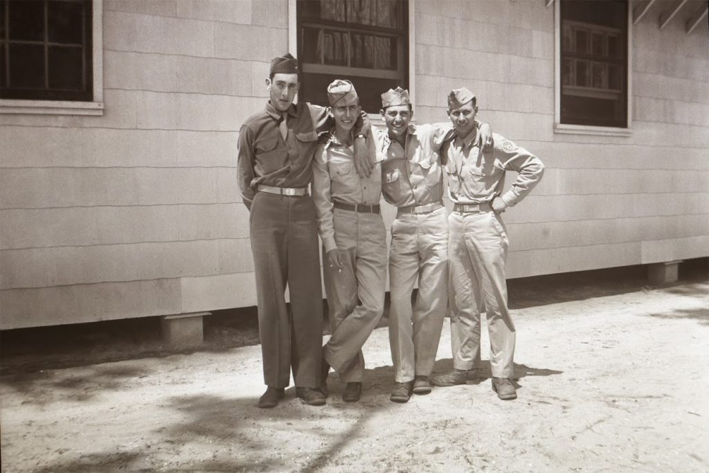 Army Air Corps Pilot Cadet Richard Winegarden (left) in training 1945 pictures with friends.